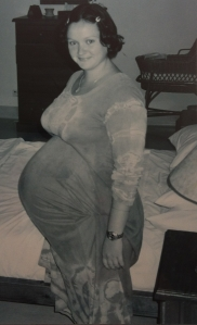 Nine months pregnant, second pregnancy, I was huge, my mum and sister nicknamed me little Buddha.......